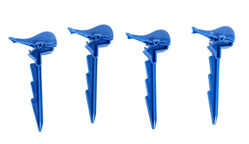 Blue Whale Beach Towel Clips/Clamps Stakes -Set of 4