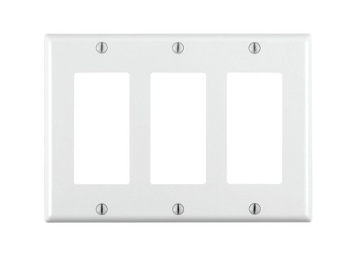 Leviton 80411-W 3-Gang Decora/GFCI Device Decora Wallplate, Standard Size, Thermoset, Device Mount, White