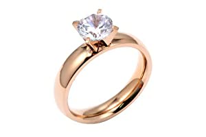Comfort Fit Stainless Steel Rose Gold Finish Engagement Ring 2 Carats Total Weight Includes a Gift Box & Special Pouch (7)