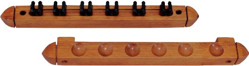 Standard 6 Pool Cue Stained Wood Wall Rack with Clips, Honey (Pool Cue Rack Wall compare prices)
