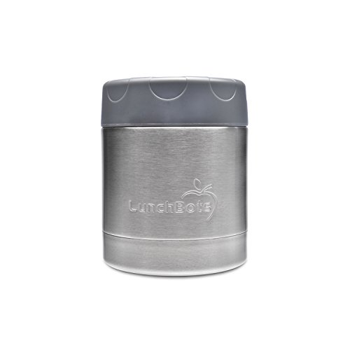 LunchBots Thermal 8 oz. All Stainless Steel Interior - Insulated Food Container Stays Warm for 6 Hours or Cold for 12 Hours - Leak Proof Soup Jar for Portable Convenience - Gray (Leak Proof Soup Containers compare prices)