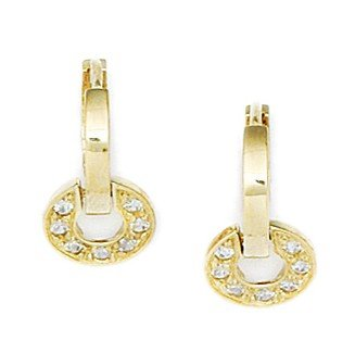 14ct Yellow Gold CZ Circle Drop Hinged Earrings - Measures 16x9mm