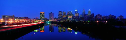 Panoramic Wall Decals - Philadelphia Skyline Featuring The Schuylkill River (4 Foot Wide Removable Graphic) front-1033606
