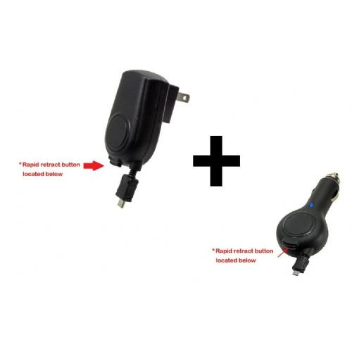 High Grade (Tangle Free) Retractable Car Adapter / Home Travel Charger For Monster Dna Pro Headphones W/ One Touch Release