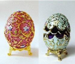 Set of Two Faberge Egg Boxes set with Swarovski Crystals and detailed in 24k Gold, Blue, Pink, Flowered w/Removable Ring Inserts & Stands Scalloped Edges