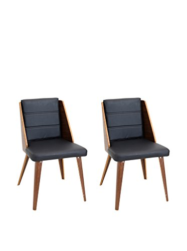 LumiSource Pair of Galanti Mid Century Modern Dining Chairs, Black