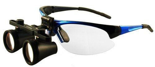 "Featured On ""Bones"" -- Dental Surgical Medical Binocular Loupes -- 2.5X500Mm Working Distance -- Flip Up Blue Sports Frame"