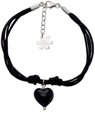 Valentina Teal Cotton Multistrand Bracelet with Genuine Murano Heart of 18.5 - 24 cm Christmas Black ladies [parallel import goods]