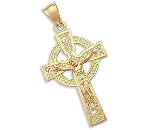 14k Yellow and Rose Gold Celtic Cross Crucifix Pendant