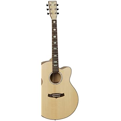 Tanglewood Super Jumbo Acoustic Guitar with Solid Spruce Top and Flame Maple Back & Sides, Natural Gloss Finish...