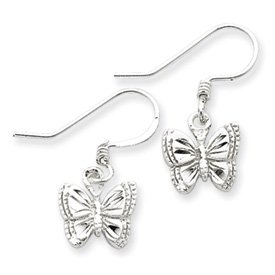 Sterling Silver Small Polished Butterfly Earrings