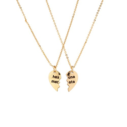 Lux Accessories Hakuna Matata It Means No Worries Detachable Broken Heart Necklace Set (2 Pc)