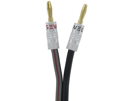 Silverback Speaker Wire By Sewell, 12 Awg, With Silverback Banana Plugs, Ofc, 259 Strand Count, 25 Ft
