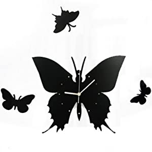 Amazon.com: kilofly Time Flies with Butterfly DIY Wall Clock ...