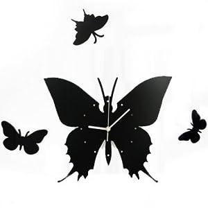 Amazon.com: kilofly Time Flies with Butterfly DIY Wall Clock ...
