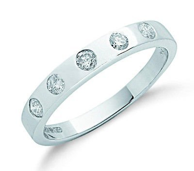 J R Jewellery 407618 9ct White Gold 0.32CTW Real Diamond Smooth Rounds Eternity Ring