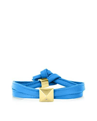 Alberto Moore Cobalt Blue Leather Wrap Bracelet with a Pyramid Stud