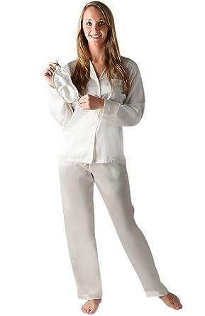Del Rossa Women's Classic Satin Pajama Set - Long Pjs, Small Pearl White (A0750CRMSM)