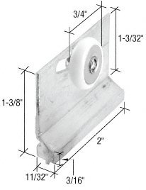"C.R. LAURENCE M6157 CRL 3/4"" Sliding Shower Door Roller and Bracket"
