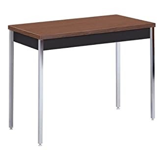 "Sandusky Lee AT4020-BW Black Powder Coat Activity/Utility Table with Walnut Top, 29"" Height x 40"" Width x 20"" Depth"