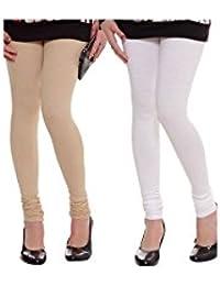 K.P.Creation White & Skin Cotton Lycra Legging Combo (Free Size)