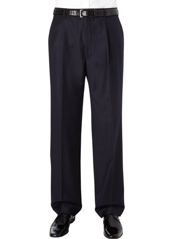 Austin Reed Regular Fit Navy Gaberdine Trousers LONG MENS 32