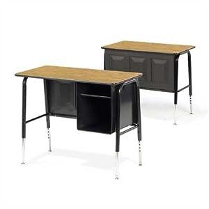 765 Series Laminate Junior Executive Desk Desk Finish Medium Oak Glides Nylon Glides by Virco