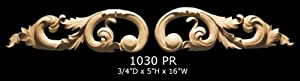 Hand Carved Solid Maple Wood Floral Scrolls Onlay Large Size, Model 1030 PR