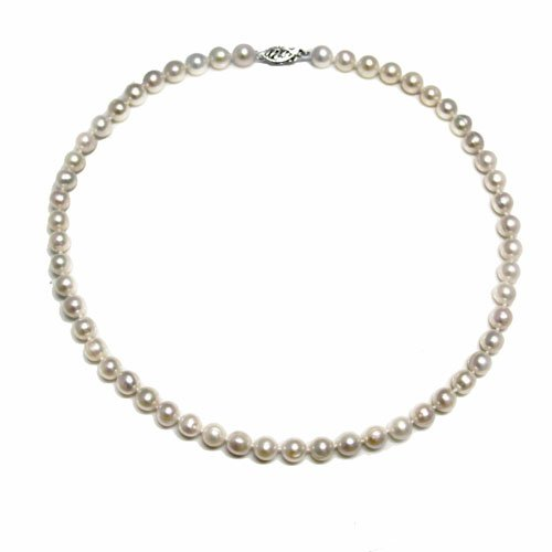 White Freshwater Cultured AA Quality Pearl Necklace (6.5-7mm), 18