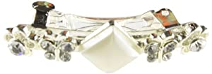 Caravan Fancy Automatic Barrette Pair Decorated of Faux Pearl and Swarovski Crystal Stones