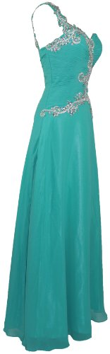 Meier Women's One Shoulder Embellished Formal Chiffon A-Line Gown in Jade-10