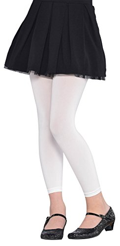 White Footless Kids Tights - Child S/M - 1