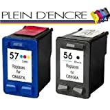 Pack 2 cartouches d'encre N°56 XL et N°57 XL Black & Color / Grande capacité / Noir et couleur pour imprimante HP Deskjet 450 Series 450CI/CBI 450WBT 5000 Series 5100 5145 5150 5151 5550 5552 5600 Series 5650 5652 5655 5800 Series 5850 Wifi 9650 9670 9680 9680gp Digital Copier 410 OfficeJet 1110 4105 4110 4110XI 4212 4214 4215 4215V 4219 4251 4252 4255 4259 5500 5505 5510 5515 5550 5605 5610 5615 6100 Series 6110 6110V 6110XI Photosmart 2410 7000 Series 7150 7200 7260 7300 7345 7350 7400 7450 7459 7530 7550 7600 7600 Series 7660 7755 7760 7762 7900 Series 7960 7960gp PSC 1100 1110 1200 1205 1210 1213 1215 1217 1219 1300 1310 1311 1312 1315 1315S 1317 1340 1350 1355 1915 2000 2100 2105 2108 2110 2110V 2110XI 2115 2170 Series 2171 2175 2179 2200 Series 2210 2210V 2210XI 2400 2410 2510 - PLEIN D'ENCRE