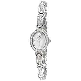 Bulova Women's Crystal Bracelet Mother of Pearl Dial Watch Gift Set #96X109