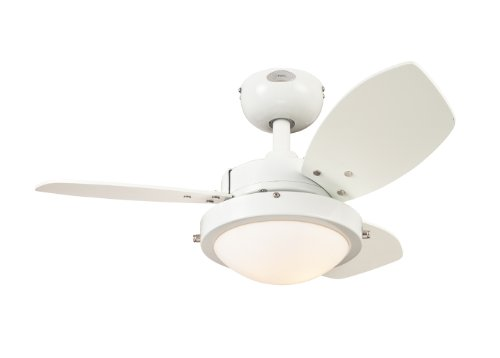 Westinghouse 7247200 Wengue Two-Light Reversible Three-Blade Indoor Ceiling Fan, 30-Inch, White Finish with Opal Frosted Glass (White Modern Ceiling Fan compare prices)