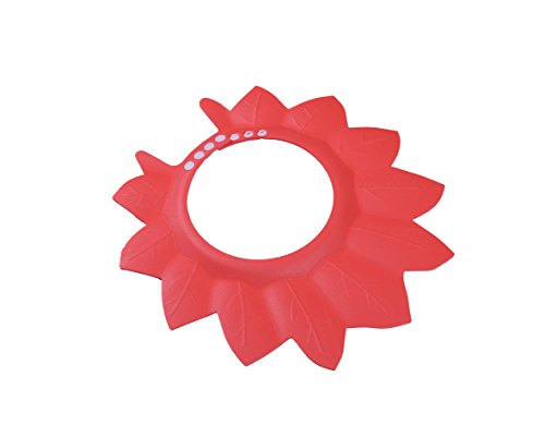 Adjustable Shower Cap Protect Shampoo for Baby Bathing Waterproof Shield Caps Hat (1Pcs, Red) - 1
