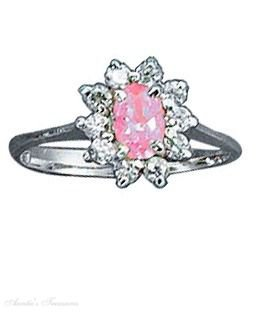 Sterling Silver Pink Ice Cubic Zirconia Ring Size 5