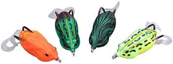 NYY Sharp-nose Frog 14G60MM Plastic Fishing Lure With Two Tails and Two Metal HooksRandom Color YLR-