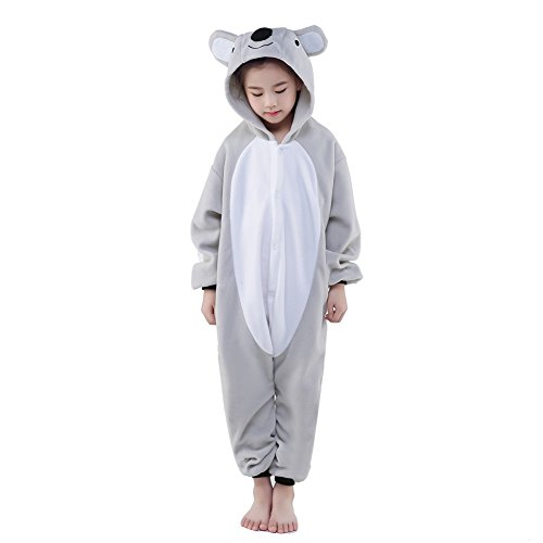 Newcosplay Unisex Children Gray Koala Pyjamas Halloween Onesie Costume (6-height 50-52