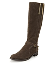 Autograph Suede Buckle & Strap Riding Long Boots with Insolia Flex® & Stretch Zip