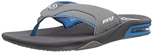 Reef Men's Fanning R Flip Flop, Charcoal/Blue/Grey, 15 M US