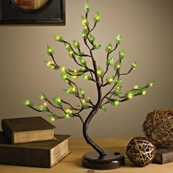Lighted Acrylic Leaf Tree With Base, 24 In., 60 Warm White Leds