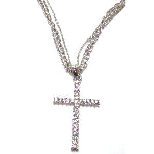Just Give Me Jewels Silvertone 16 inch Three-Strand Chain Rhinestone Cross Pendant Necklaceels