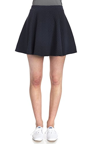 WallFlower Juniors Quilted Knit Skater Skirt in Navy Size: Medium (Womens Quilted Mini Skirt compare prices)