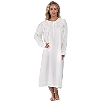 The 1 for U 100% Cotton Long Sleeve Vintage Design Nightgown - Bettie - White