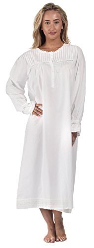 The 1 for U 100% Cotton Long Sleeve Vintage Design Nightgown - Bettie - White 1