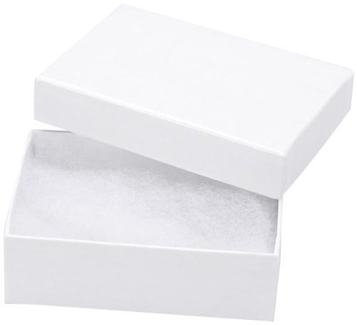 25 White Swirl Cotton Charm Jewelry Boxes Gift Display 2 1/8