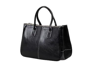 Bundle Monster Womens PU Faux Leather Lady Tote Shoulder Handbag Purse Bag - BLACK