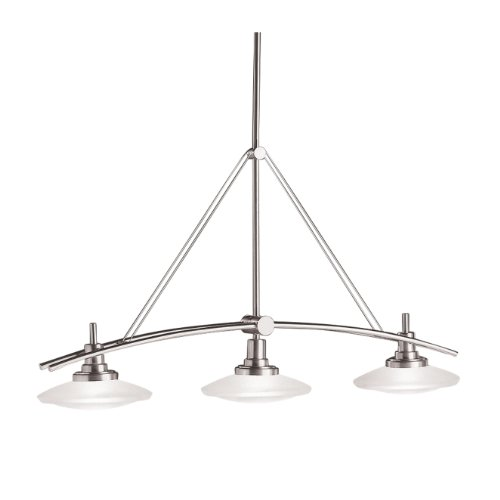 B000K78LPO Kichler Lighting 2955NI Structures 3-Light Halogen Linear Chandelier/Island Light, Brushed Nickel with Satin-Etched Glass