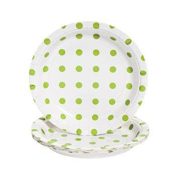 Lime Green Polka Dot Dessert Plates - Easter & Party Supplies